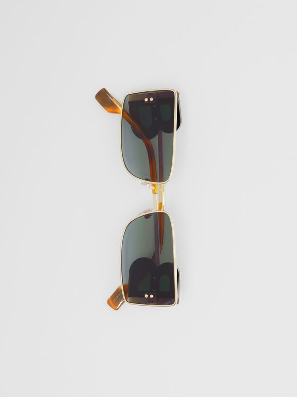 'B' Lens Detail Rectangular Frame Sunglasses in Tortoiseshell | Burberry - cell image 3