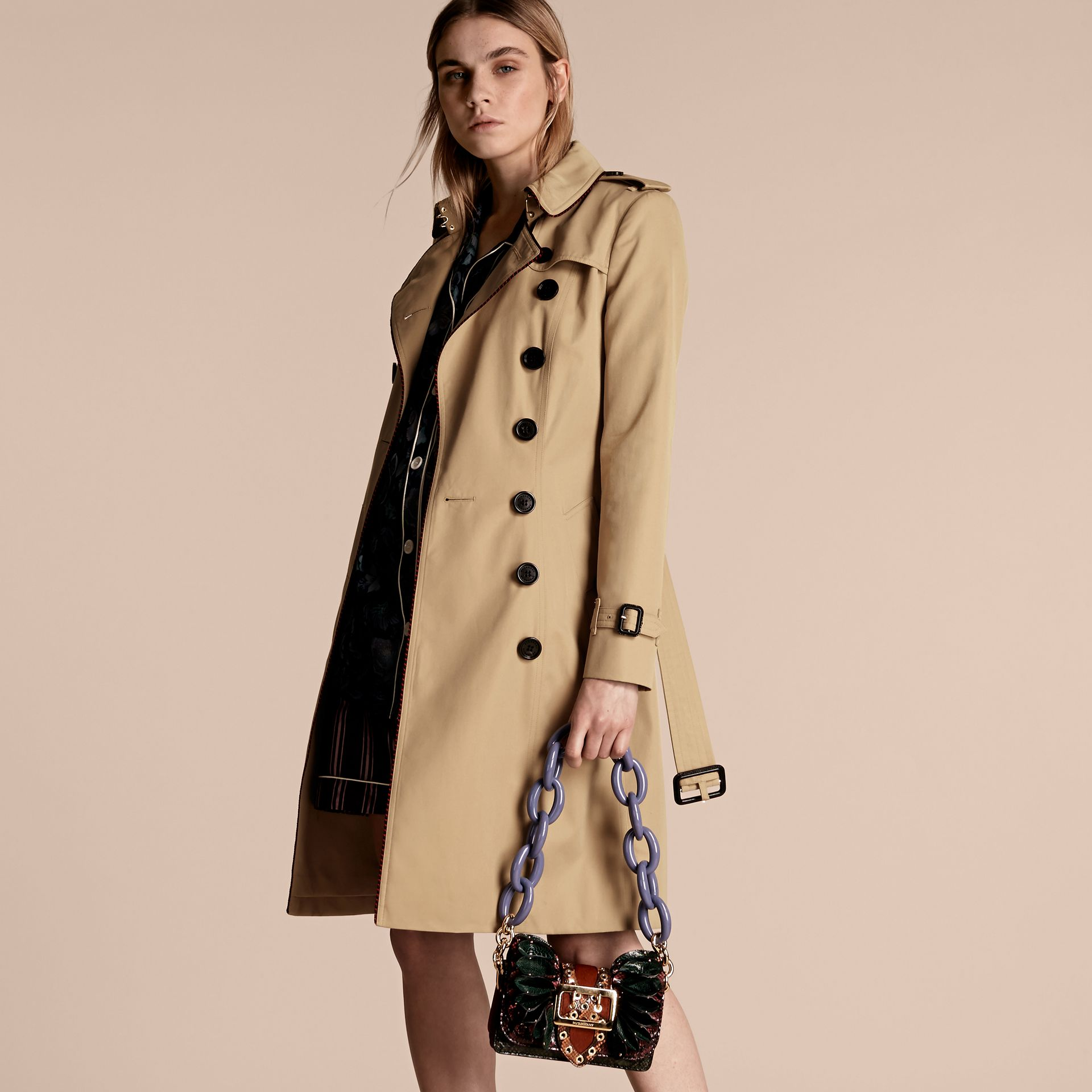 Honey Cotton Gabardine Trench Coat with Regimental Piping - gallery image 8