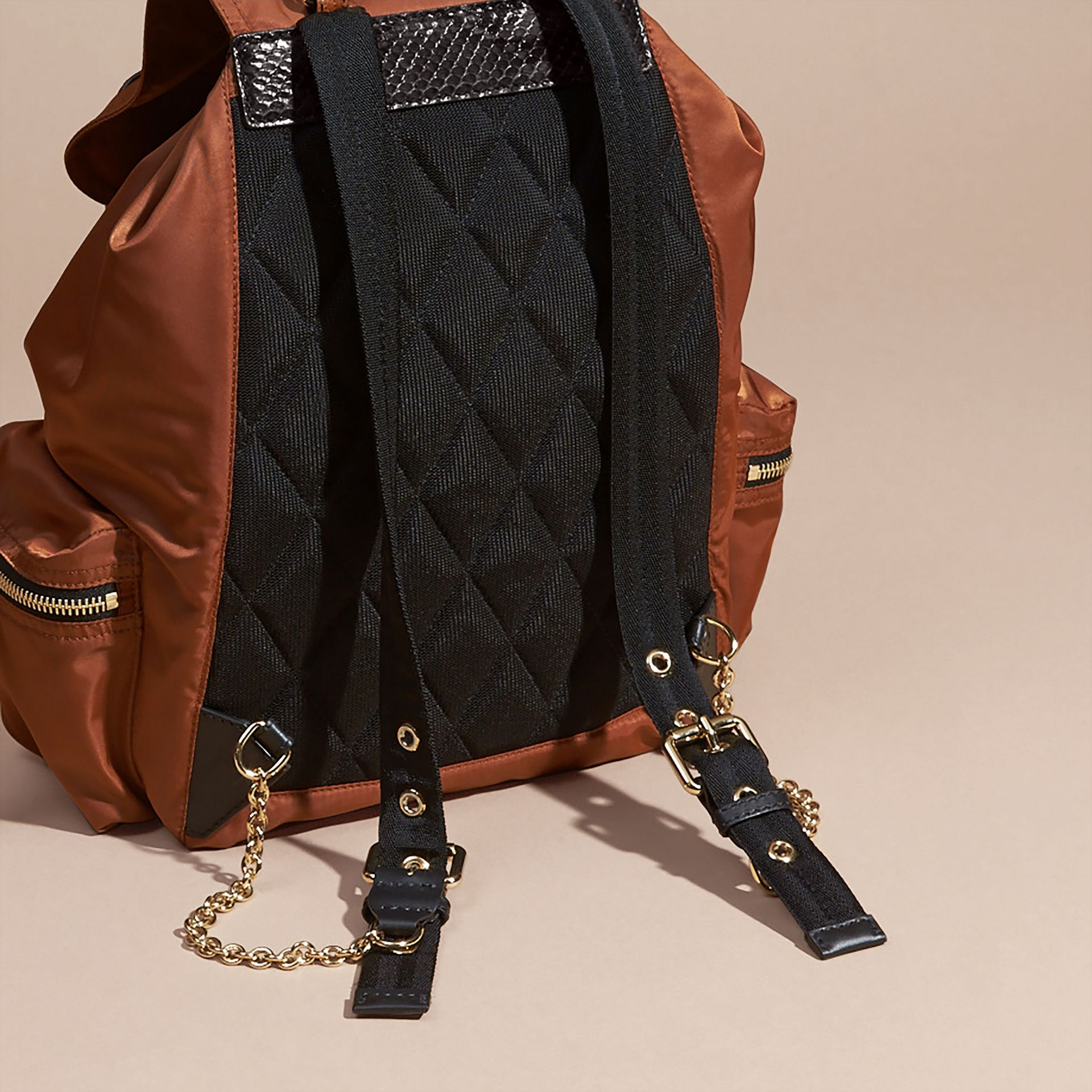 The Large Rucksack in Technical Nylon and Snakeskin in Redwood/tan - Women | Burberry - gallery image 4
