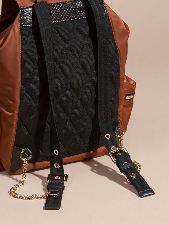 The Large Rucksack in Technical Nylon and Snakeskin in Redwood/tan - Women | Burberry - cell image 3