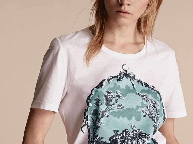 Bianco T-shirt in cotone con stampa tappezzeria - cell image 4