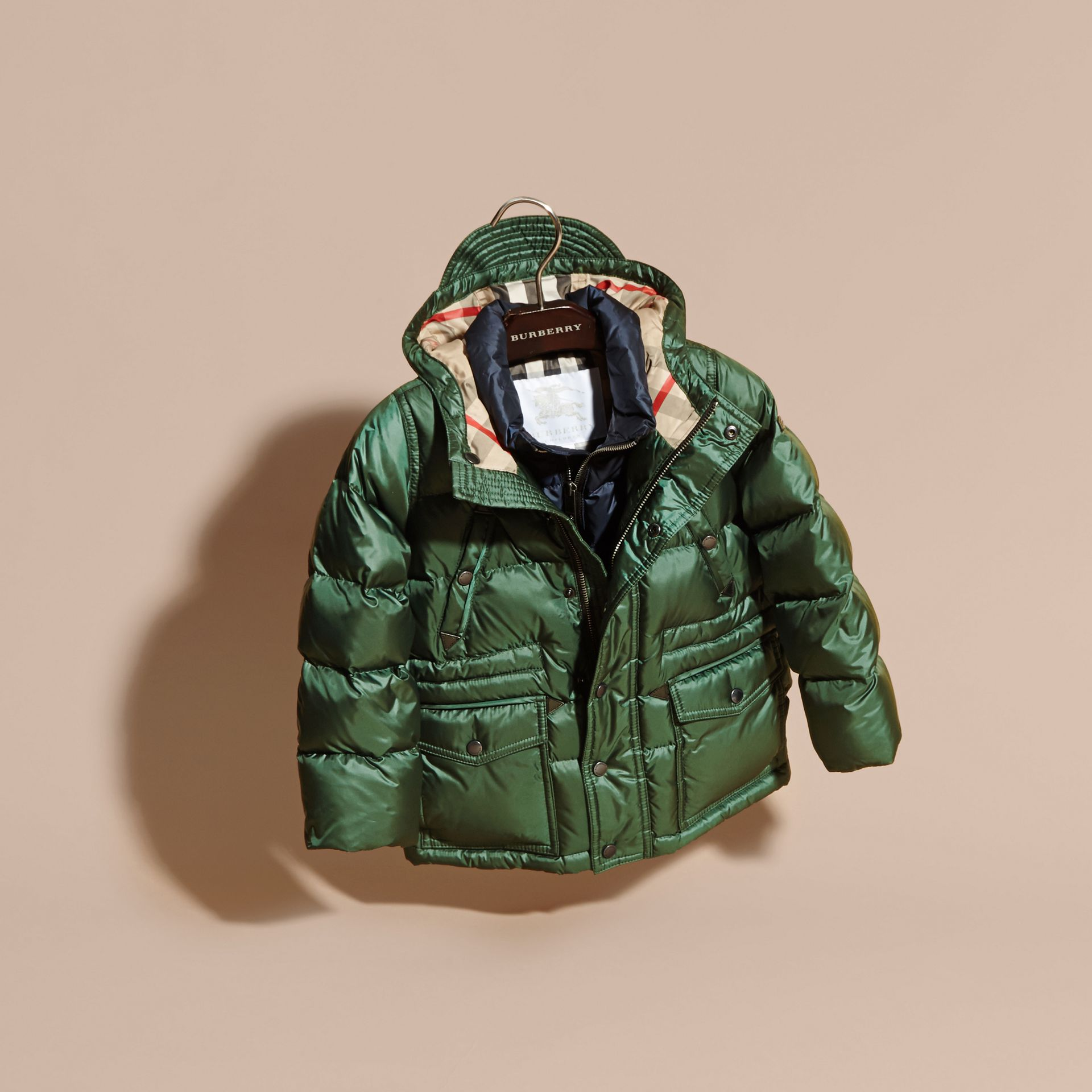 Deep bottle green Down-Filled Hooded Puffer Coat Deep Bottle Green - gallery image 3
