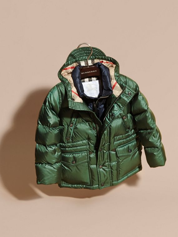 Deep bottle green Down-Filled Hooded Puffer Coat Deep Bottle Green - cell image 2