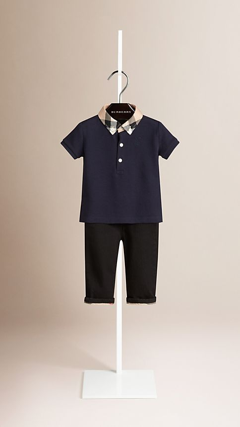 True navy Check Collar Polo Shirt - Image 1