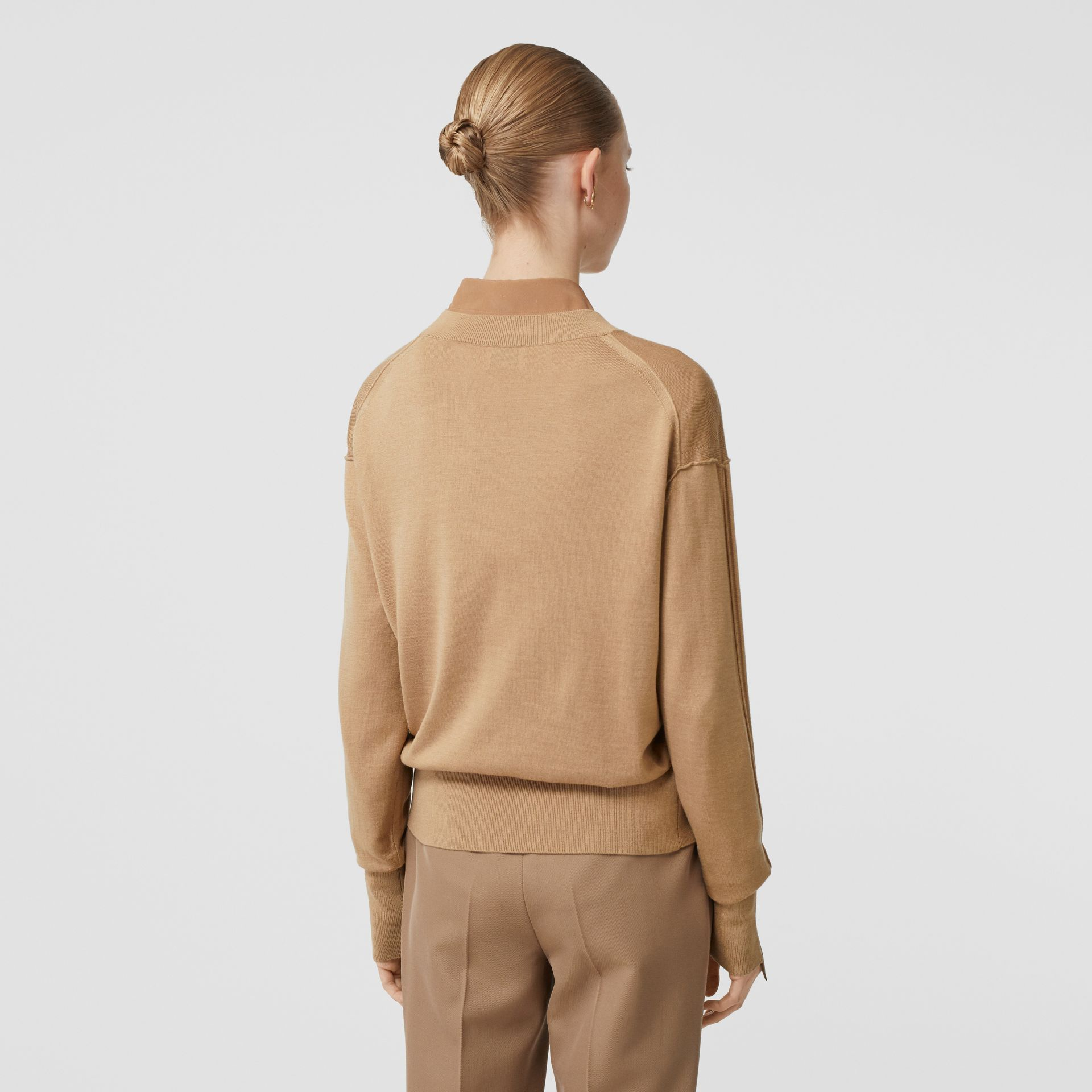 Logo Detail Merino Wool Silk Sweater in Biscuit - Women | Burberry - gallery image 2