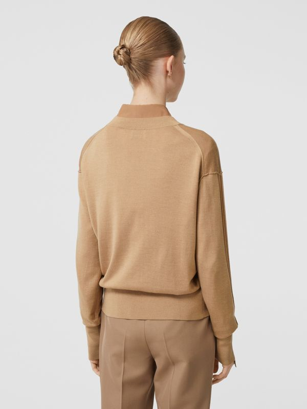 Logo Detail Merino Wool Silk Sweater in Biscuit - Women | Burberry Singapore - cell image 2