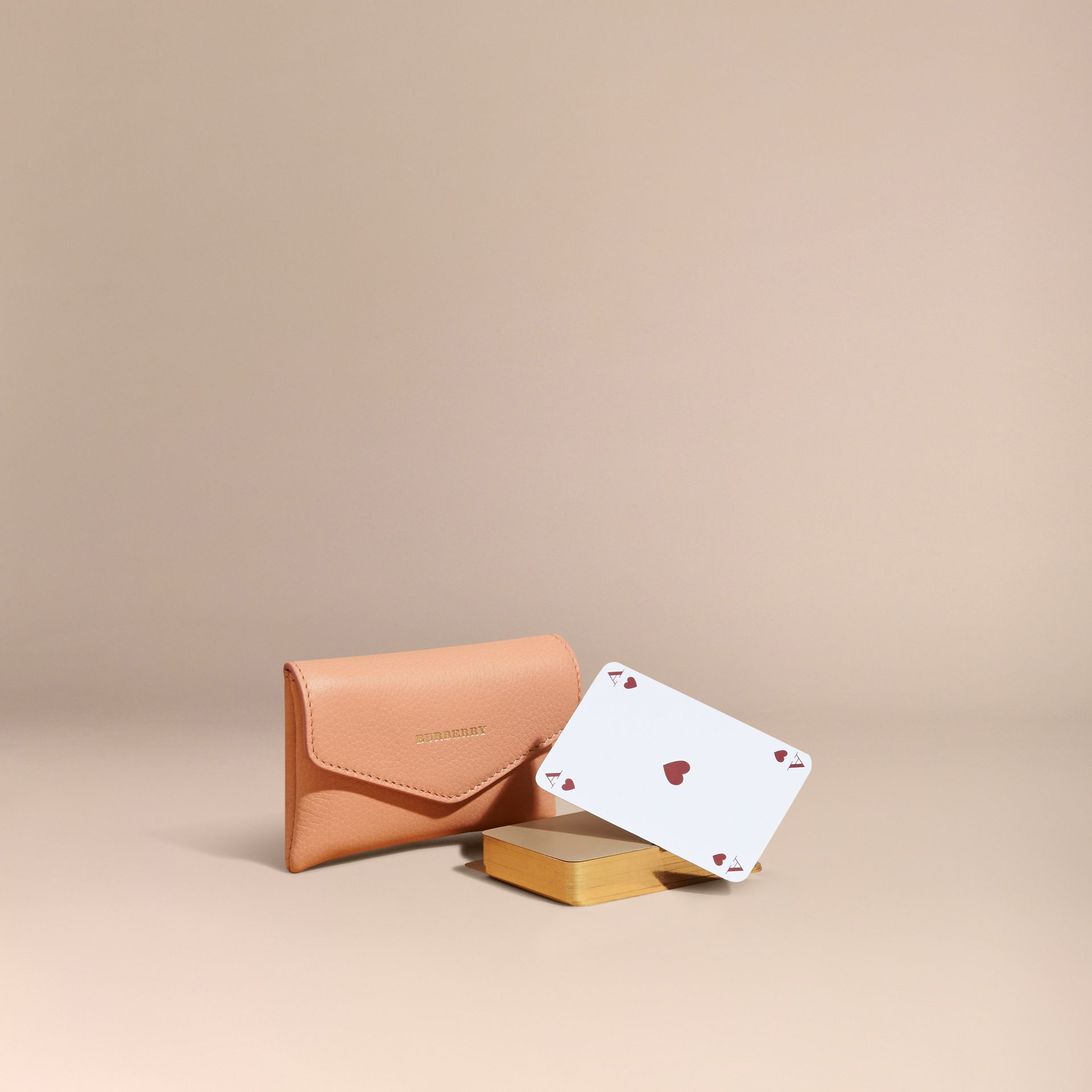 Pink apricot Grainy Leather Playing Card Case Pink Apricot - gallery image 1