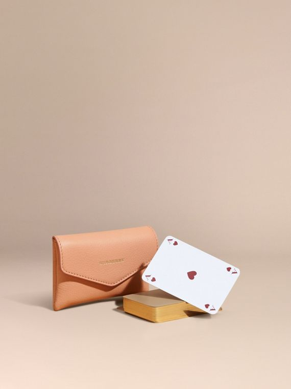 Grainy Leather Playing Card Case Pink Apricot