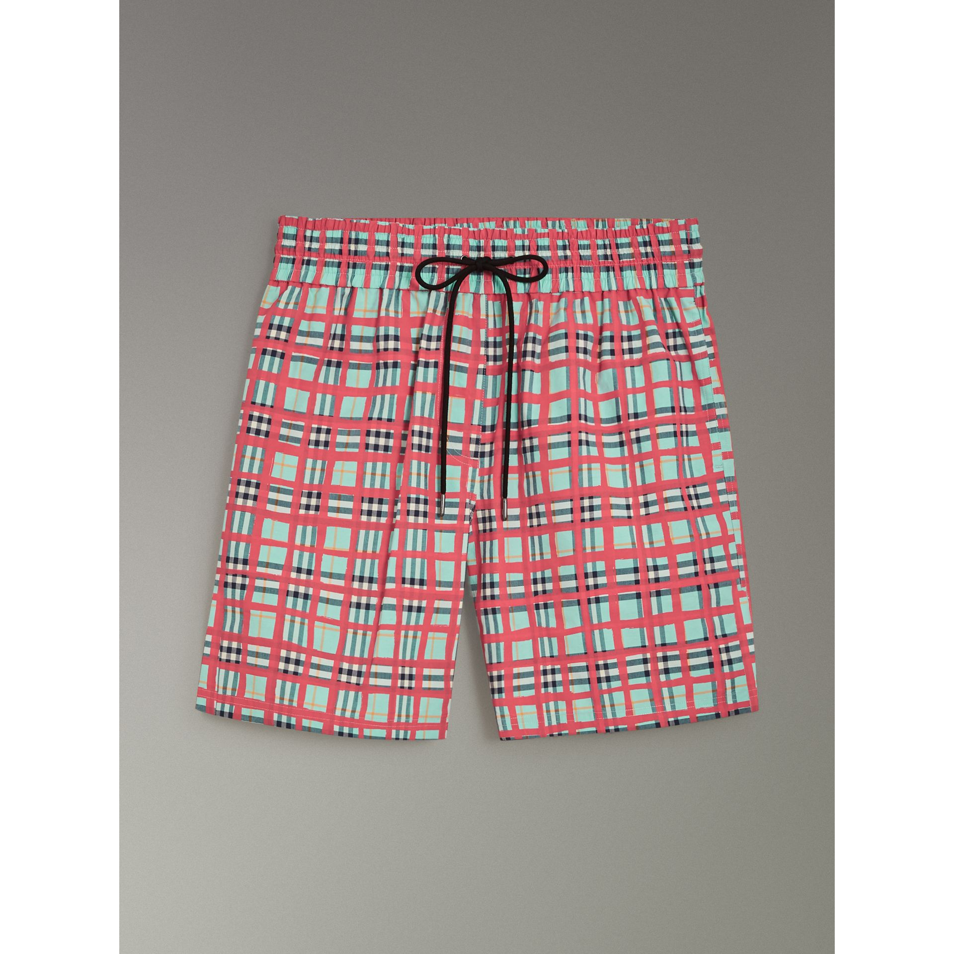 Painted Check Cotton Drawcord Shorts in Bright Aqua - Women | Burberry - gallery image 3
