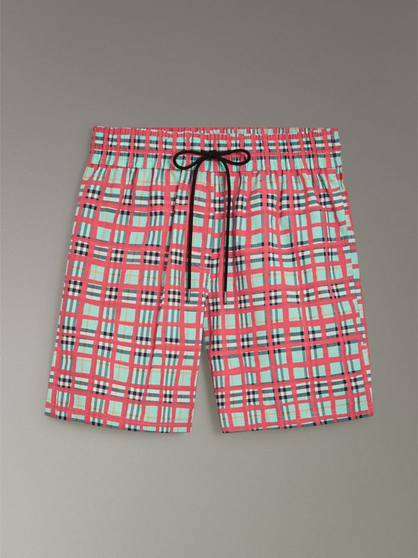 Painted Check Cotton Drawcord Shorts in Bright Aqua - Women | Burberry - cell image 3