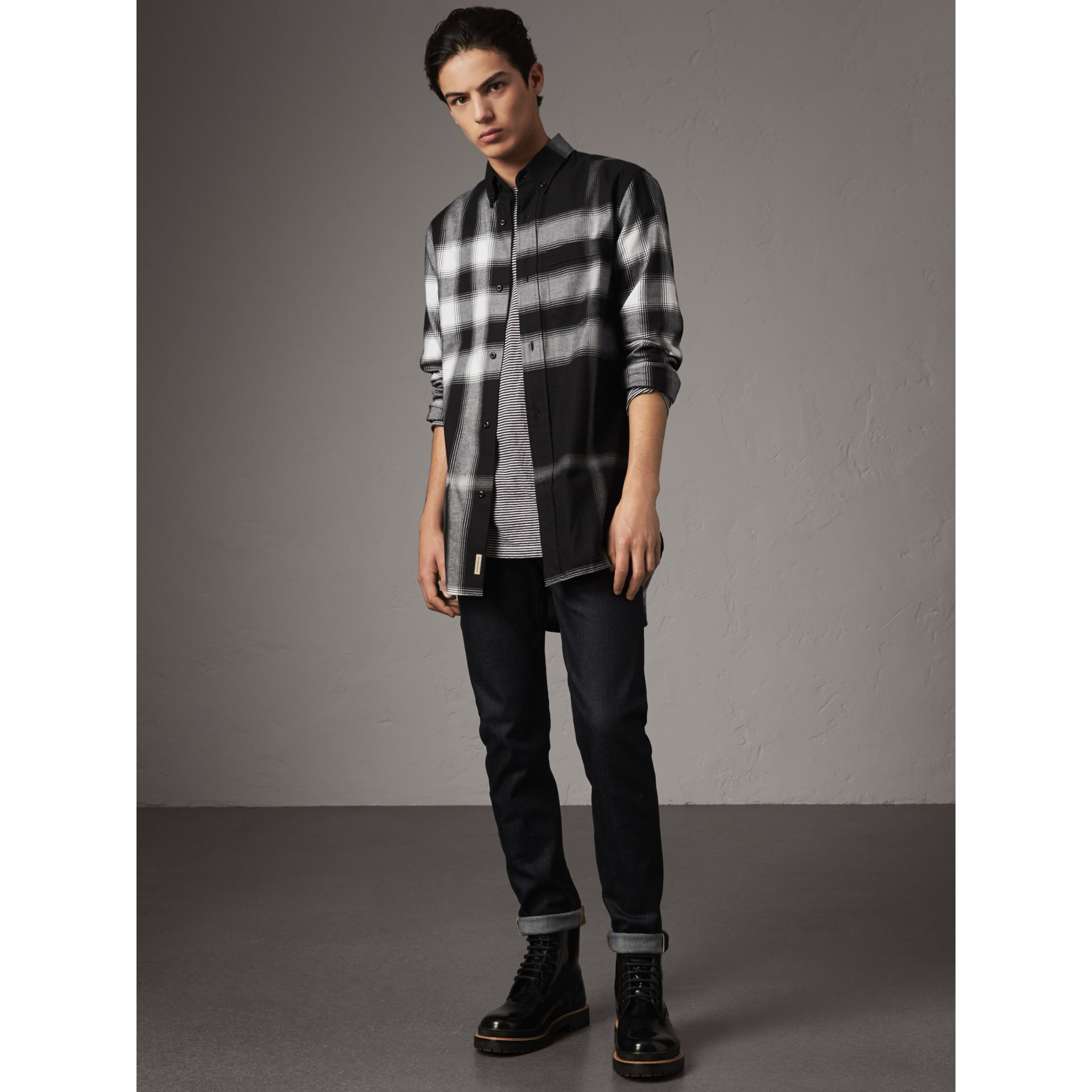 Ombré Check Cotton Flannel Shirt in Black - Men | Burberry - gallery image 5