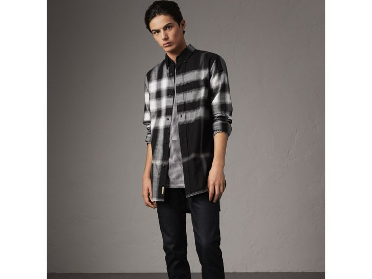 Ombré Check Cotton Flannel Shirt in Black - Men | Burberry United Kingdom - cell image 4