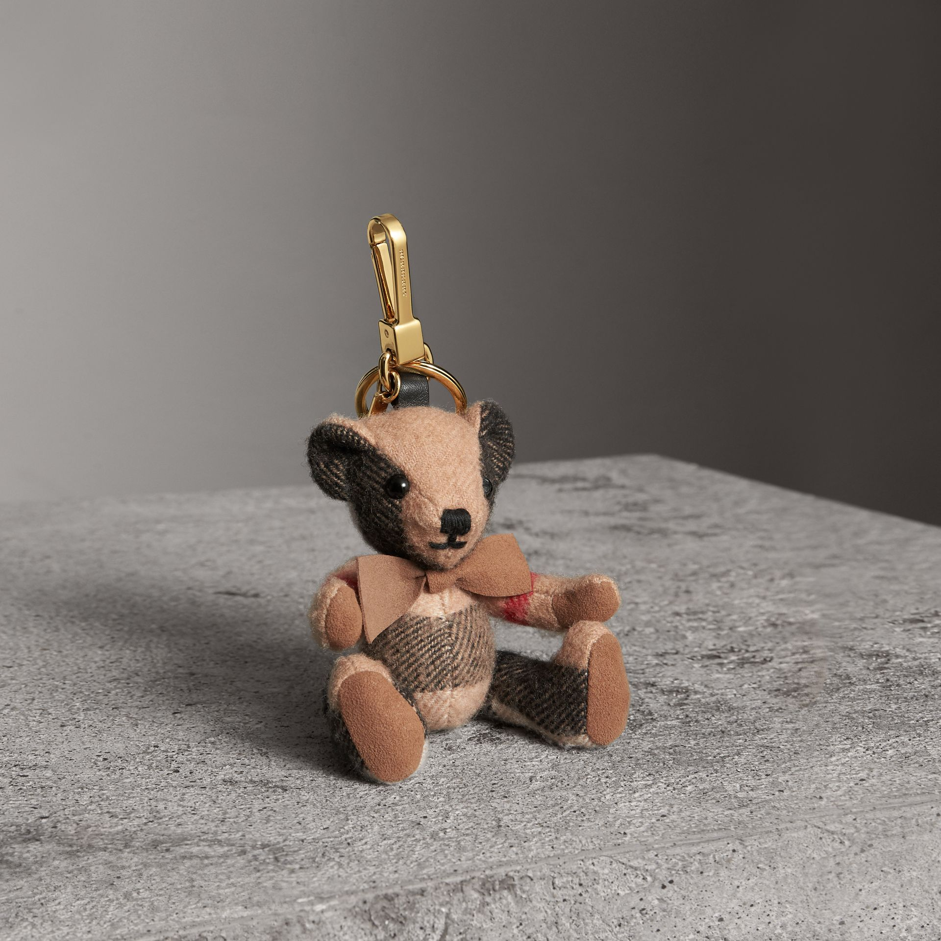 Thomas Bear Charm in Check Cashmere in Camel | Burberry Australia - gallery image 0