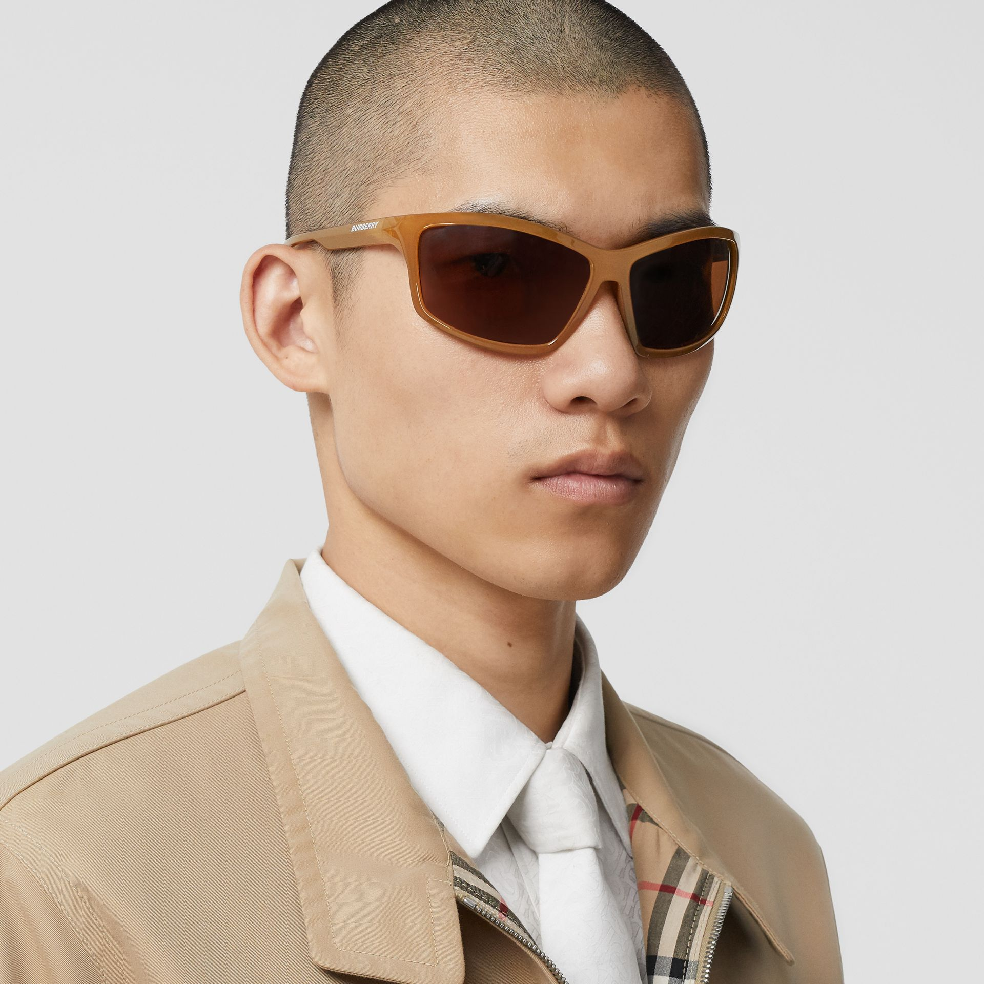 Wrap Frame Sunglasses in Amber Tortoiseshell - Men | Burberry United States - gallery image 2