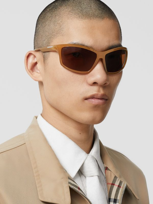 Wrap Frame Sunglasses in Amber Tortoiseshell - Men | Burberry United States - cell image 2