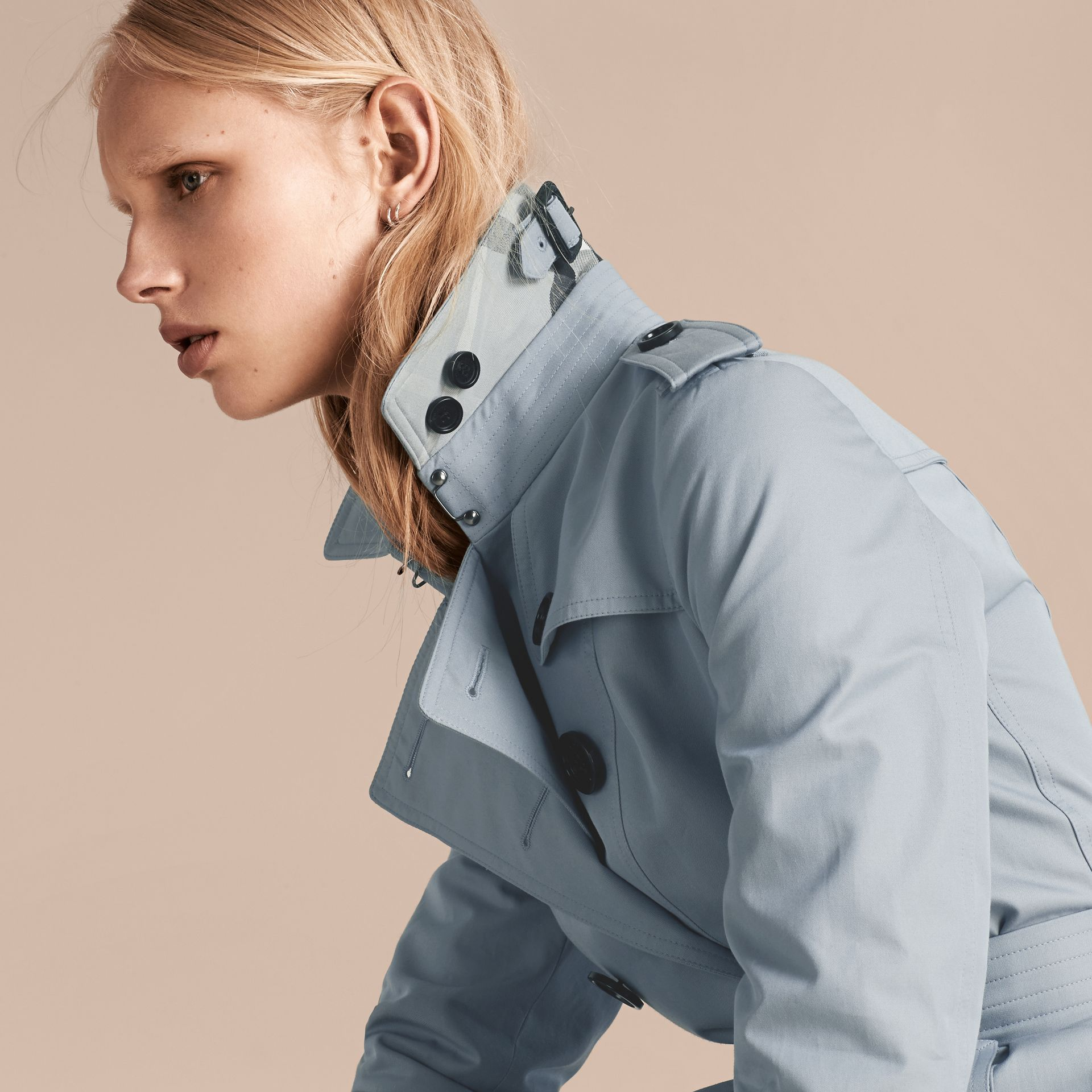 Pale sky blue Cotton Gabardine Trench Coat Pale Sky Blue - gallery image 6