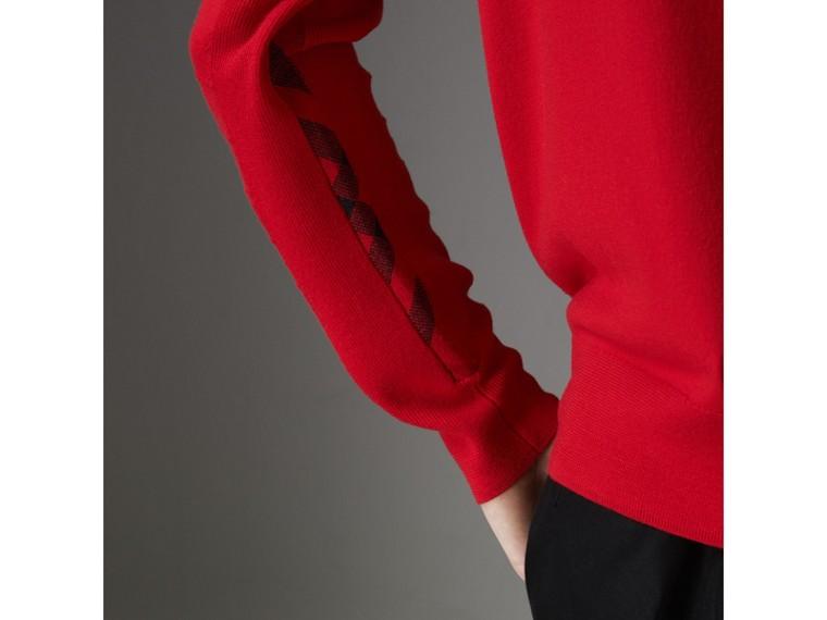 Check Detail Merino Wool Sweater in Dark Cobalt - Men | Burberry Singapore - cell image 1