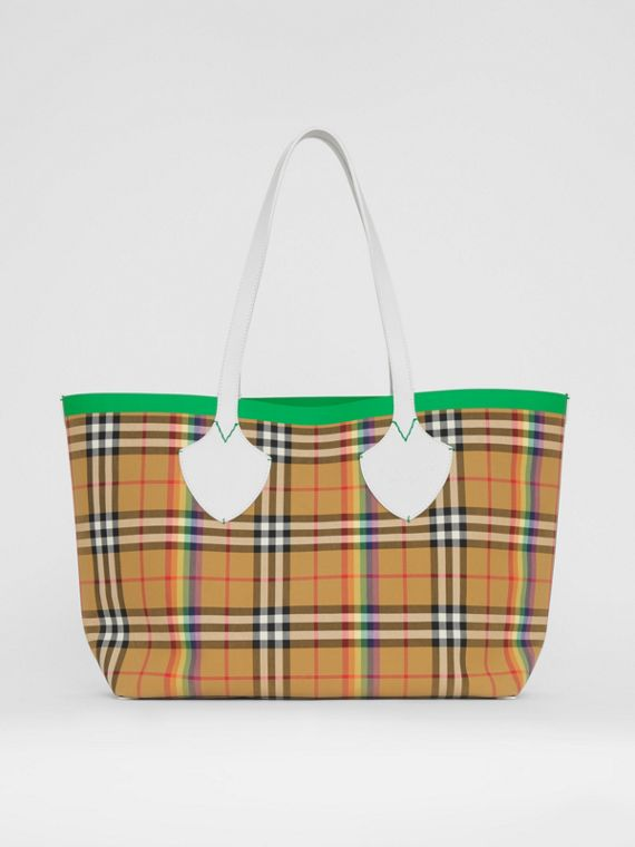 The Medium Giant Tote mit Rainbow Vintage Check-Muster (Antikgelb)