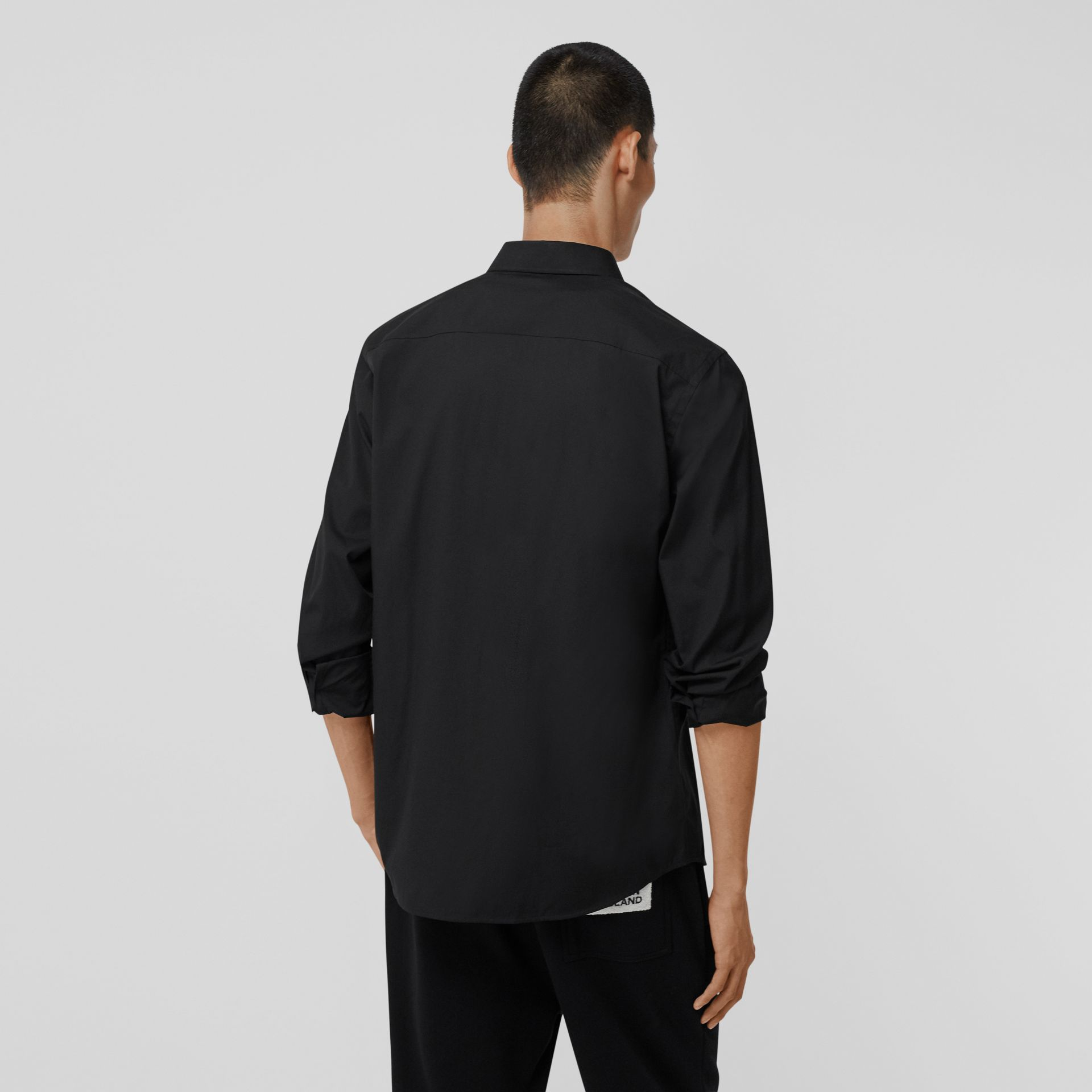 Logo Detail Stretch Cotton Poplin Shirt in Black - Men | Burberry - gallery image 2