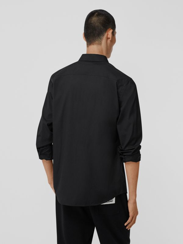 Logo Detail Stretch Cotton Poplin Shirt in Black - Men | Burberry - cell image 2