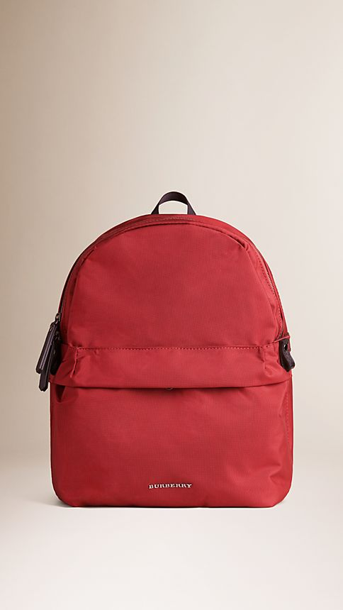 Parade red Leather Detail Nylon Backpack - Image 1