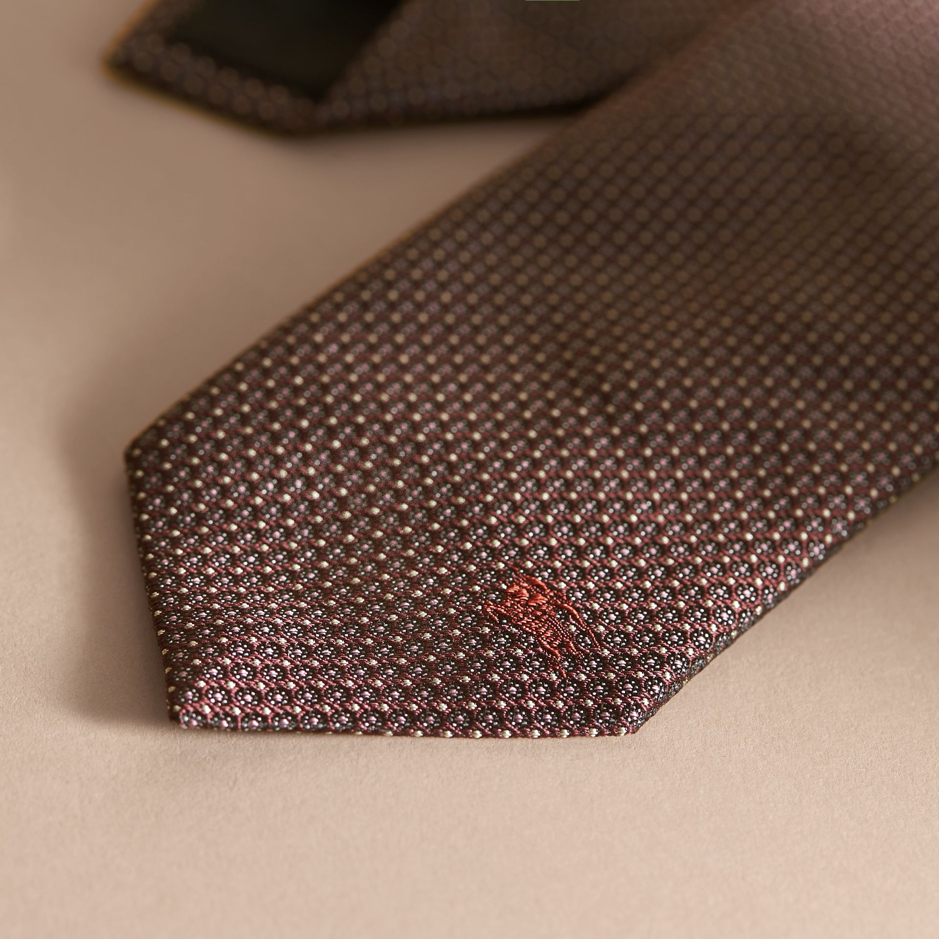 Modern Cut Patterned Silk Tie in Deep Claret - gallery image 4