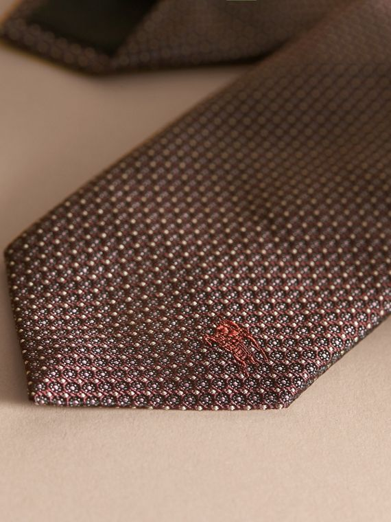 Modern Cut Patterned Silk Tie in Deep Claret - cell image 3