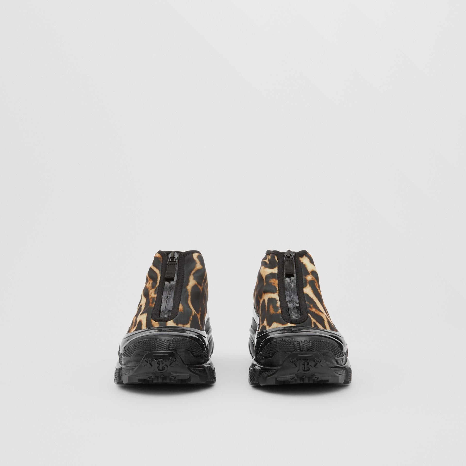 Leopard Print Nylon Arthur Sneakers in Camel - Women | Burberry - gallery image 3