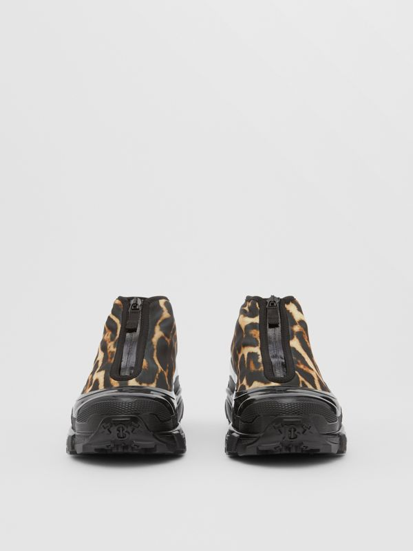 Leopard Print Nylon Arthur Sneakers in Camel - Women | Burberry - cell image 3
