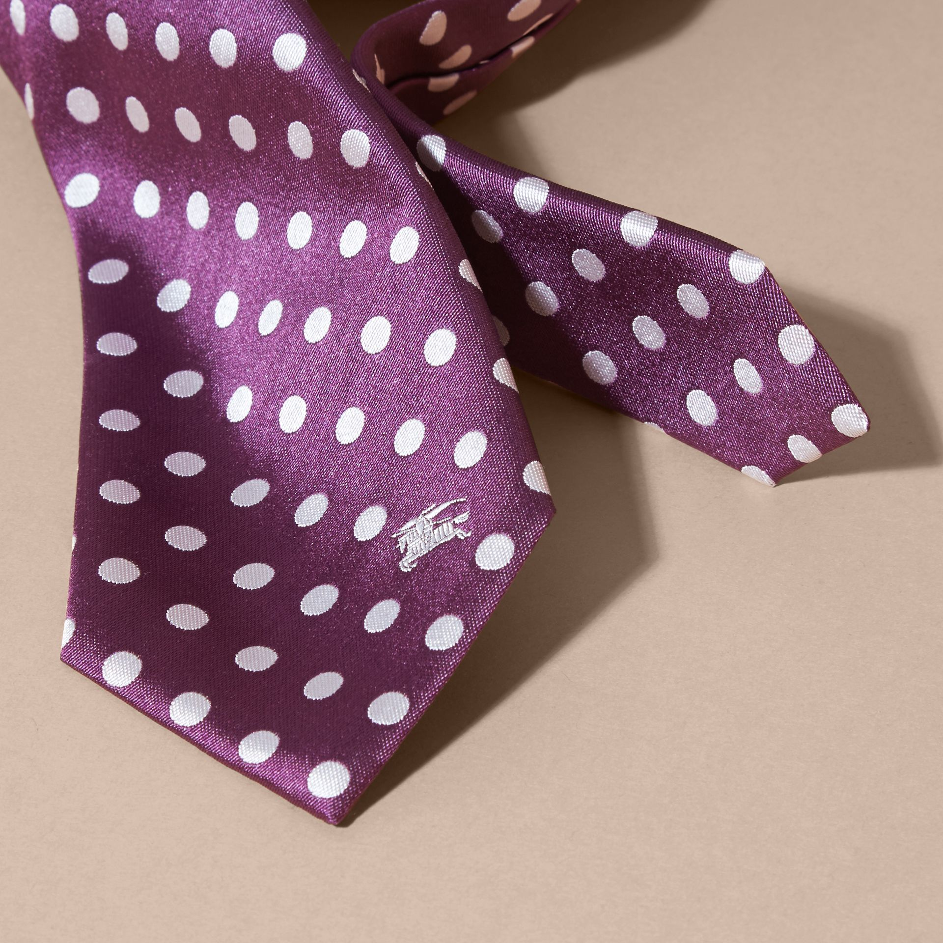 Modern Cut Polka-dot Silk Jacquard Tie in Purple Black - Men | Burberry - gallery image 2