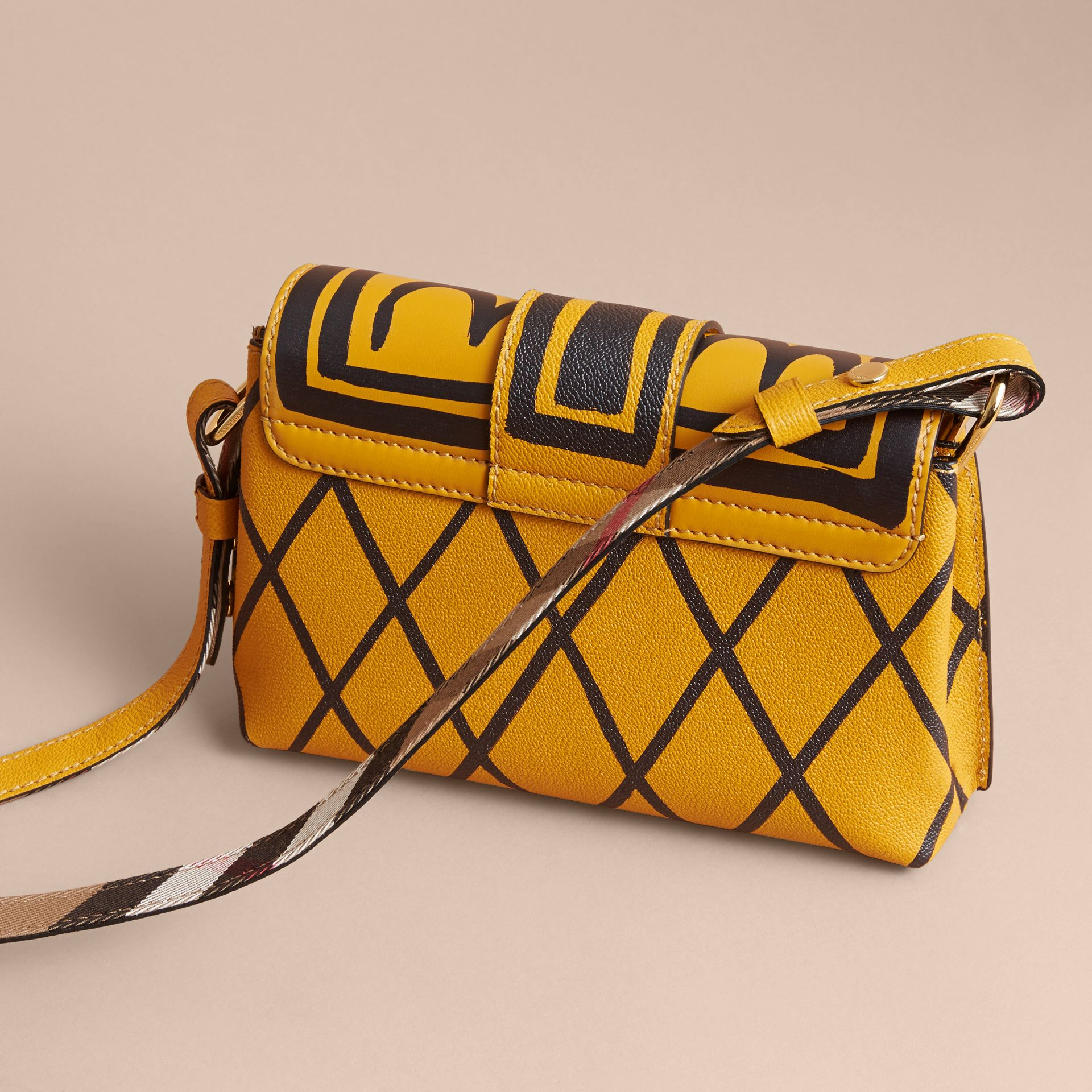 The Buckle Crossbody Bag in Trompe L'oeil Leather in Bright Straw - gallery image 4