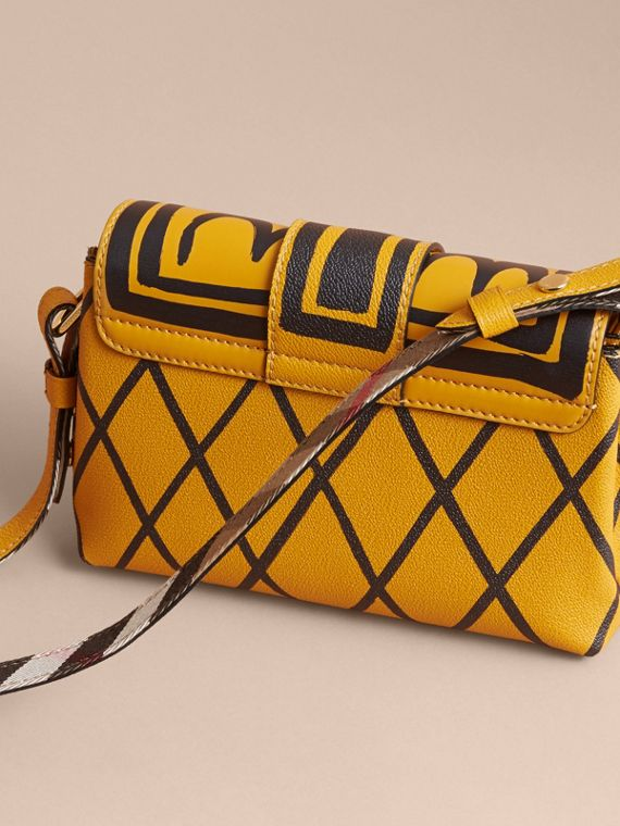 The Buckle Crossbody Bag in Trompe L'oeil Leather in Bright Straw - cell image 3