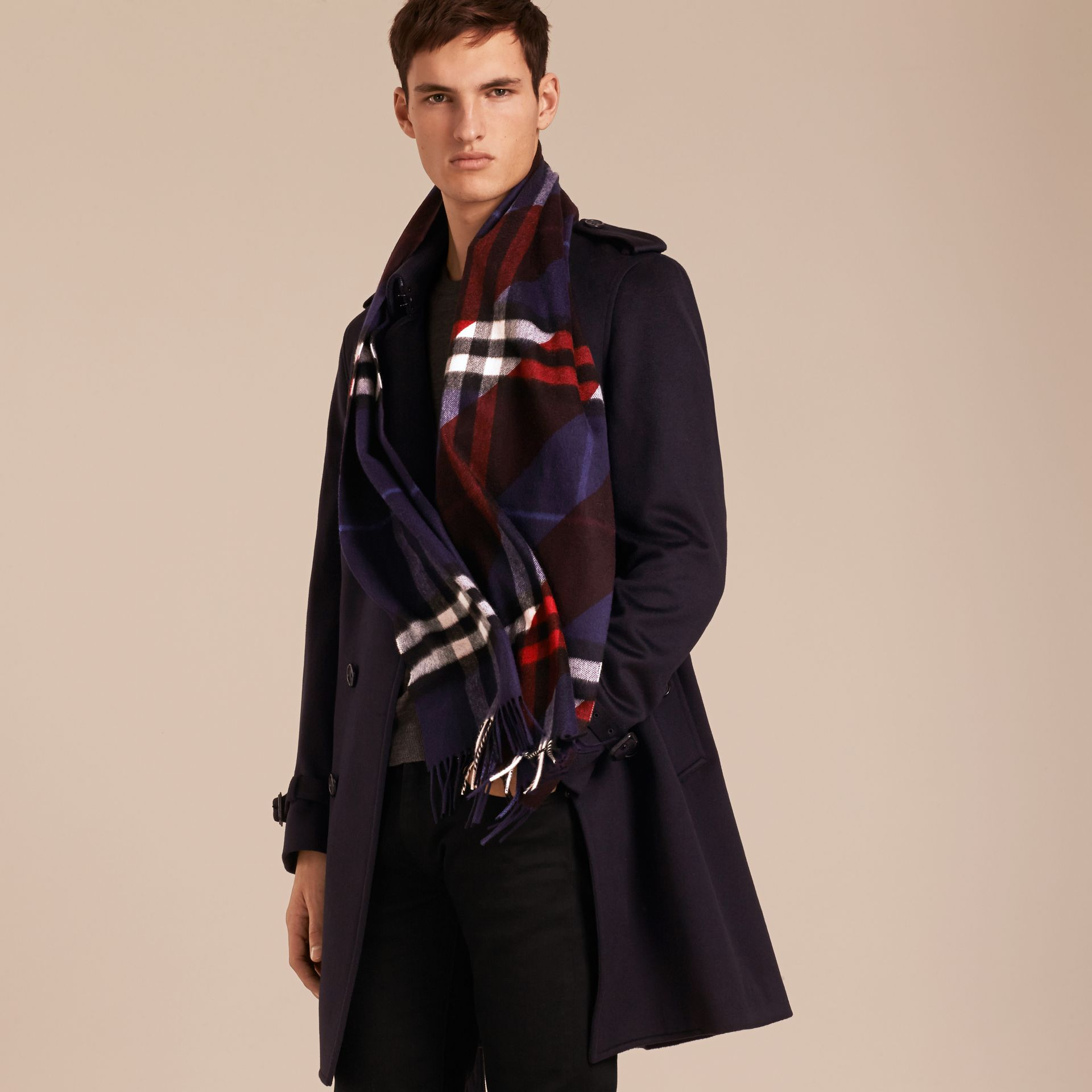 The Classic Cashmere Scarf in Check with Stripe Print - gallery image 4
