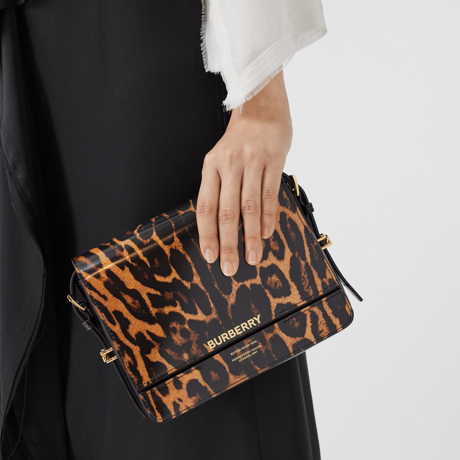Small Leopard Print Leather Grace Bag in Dark Mustard - Women | Burberry - gallery image 2