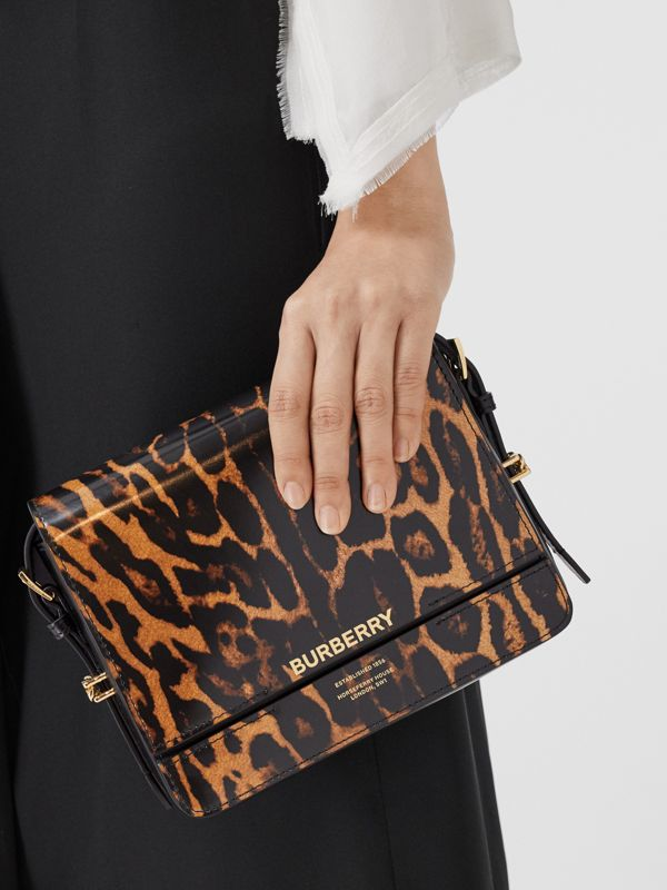 Small Leopard Print Leather Grace Bag in Dark Mustard - Women | Burberry - cell image 2