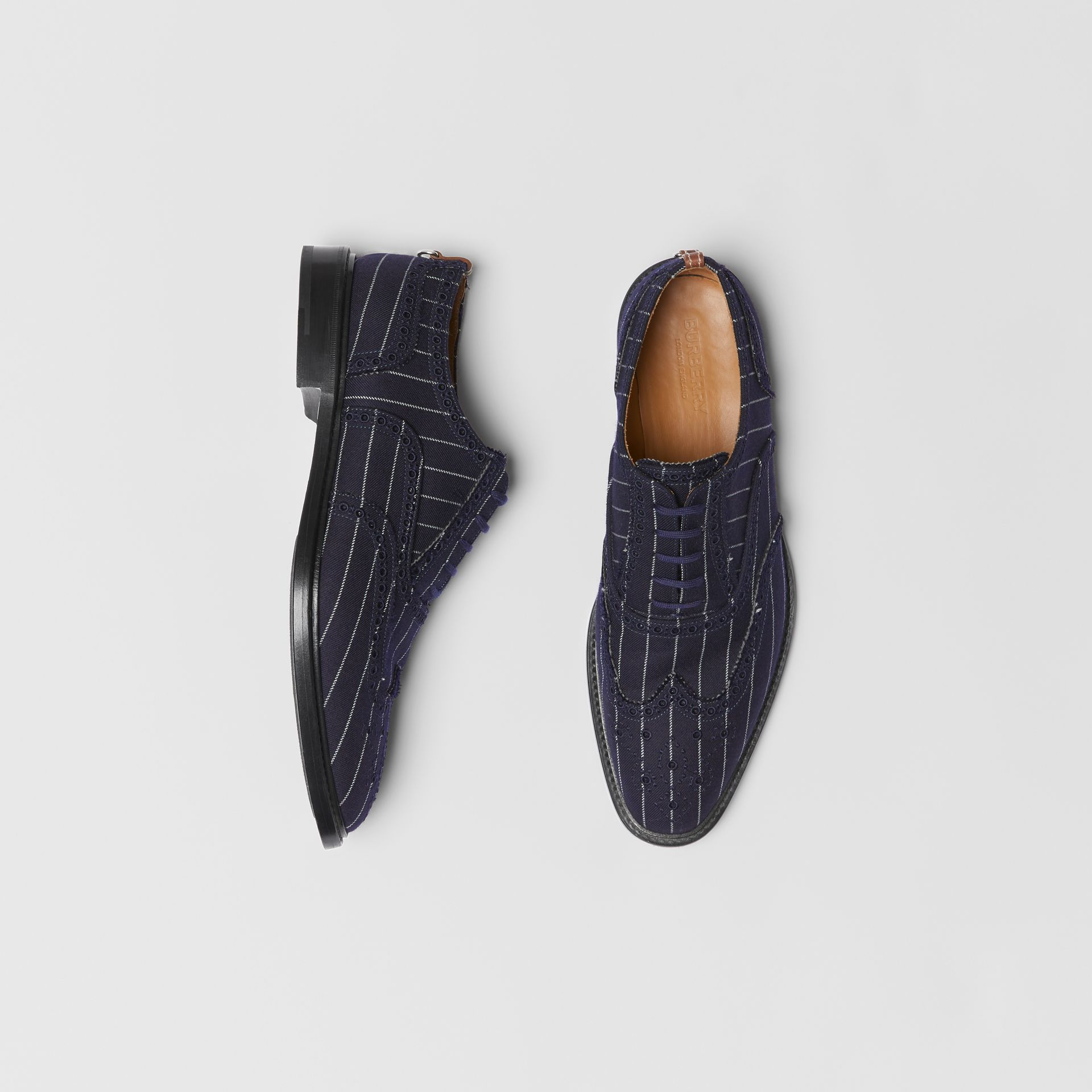 Pinstriped Wool Brogues in Dark Navy | Burberry Singapore - gallery image 0