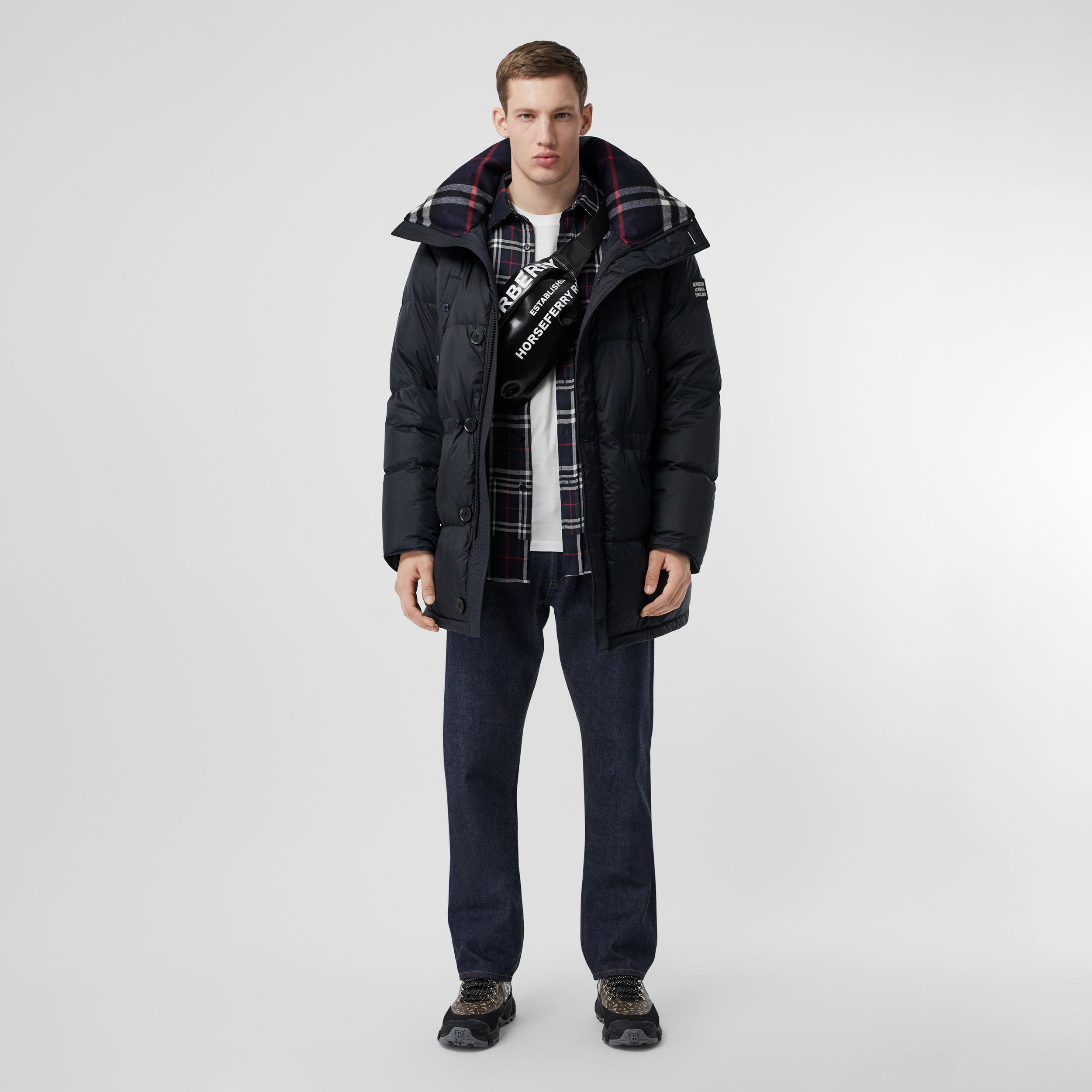 Logo Detail Hooded Puffer Coat in Navy - Men | Burberry Australia - 1