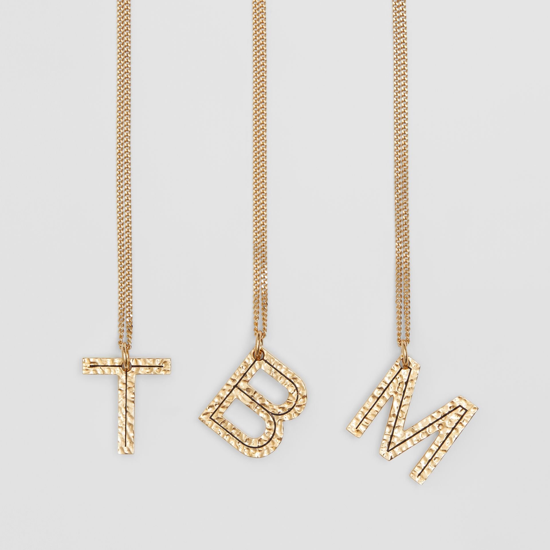 'B' Alphabet Charm Gold-plated Necklace in Light - Women | Burberry - gallery image 1