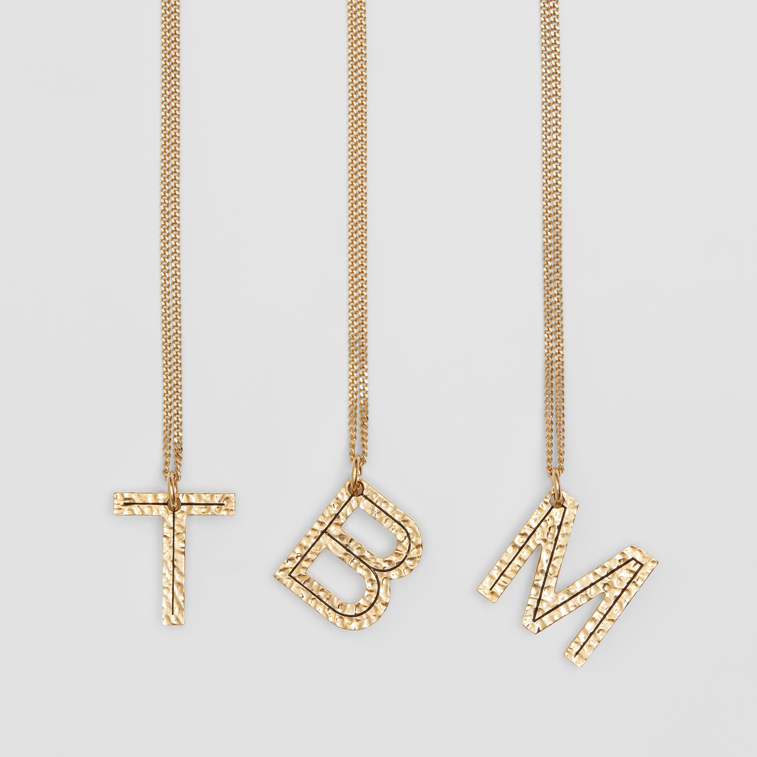 'B' Alphabet Charm Gold-plated Necklace in Light - Women | Burberry United Kingdom - 2