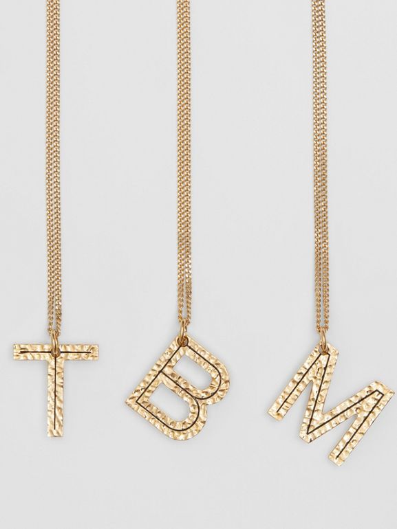 'B' Alphabet Charm Gold-plated Necklace in Light - Women | Burberry - cell image 1