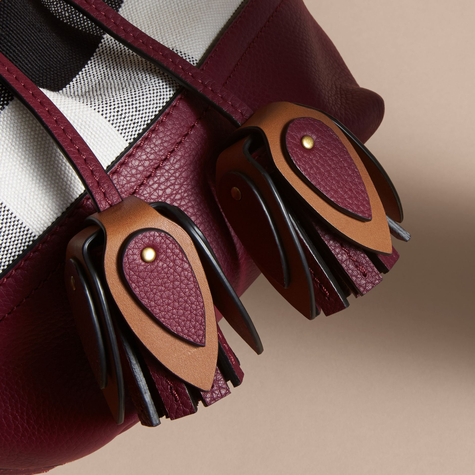 Small Canvas Check and Leather Bucket Bag in Burgundy Red - Women | Burberry Singapore - gallery image 2