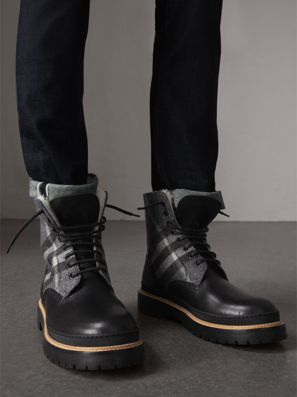 Shearling-lined Leather and Check Boots in Black - Men | Burberry Singapore - cell image 2
