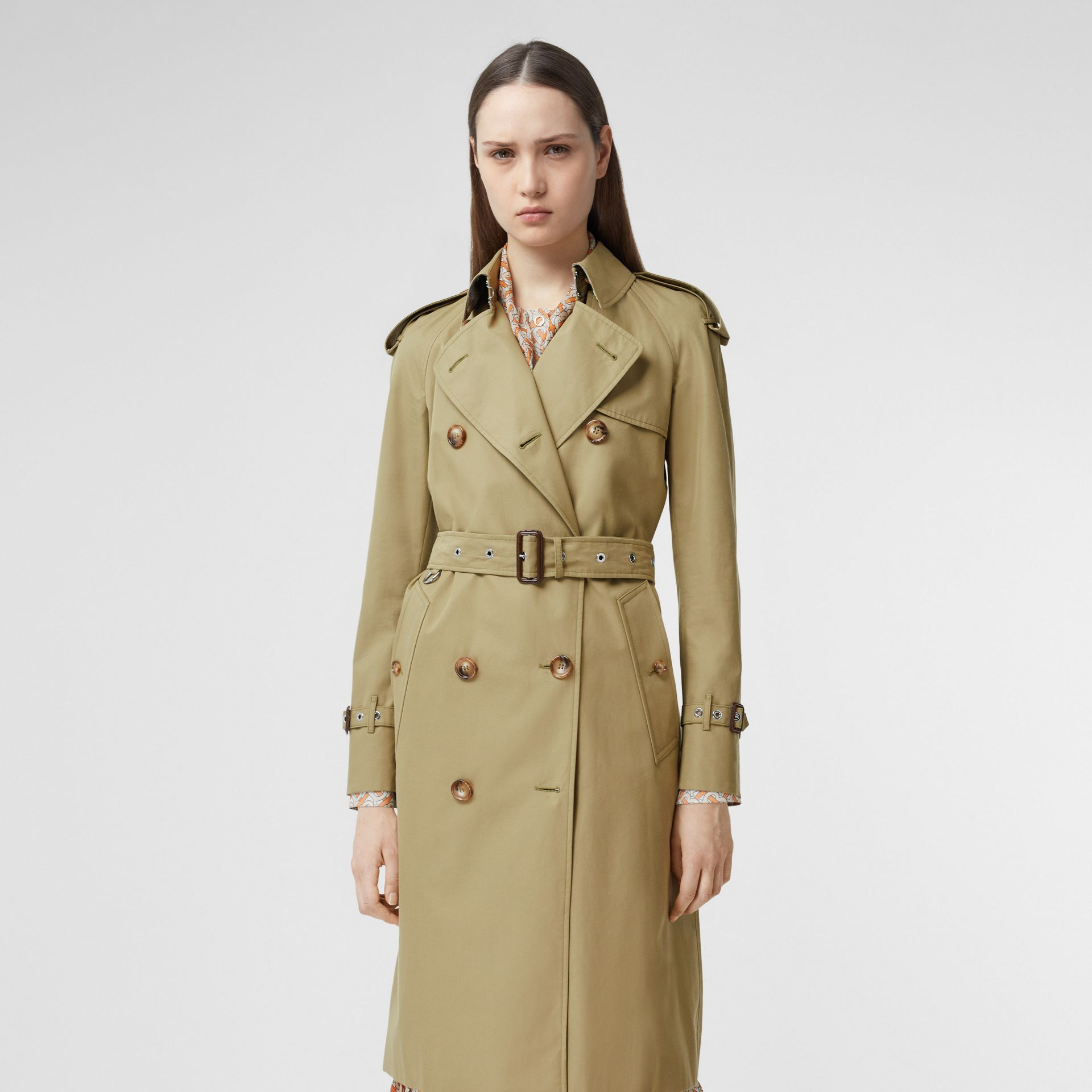 Animalia Print-lined Cotton Gabardine Trench Coat in Rich Olive - Women | Burberry - gallery image 0