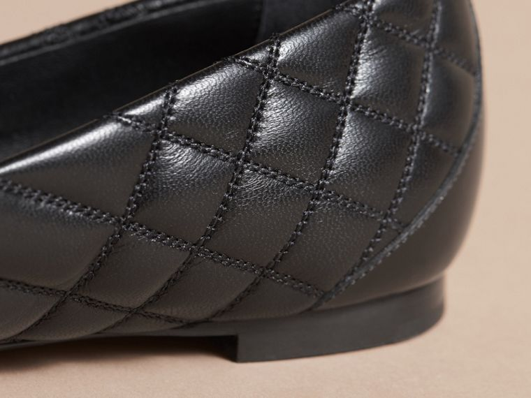 Buckle Detail Quilted Lambskin Leather Ballerinas in Black - Women | Burberry - cell image 4