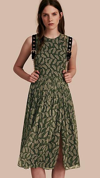 Leaf Print Silk Midi Dress