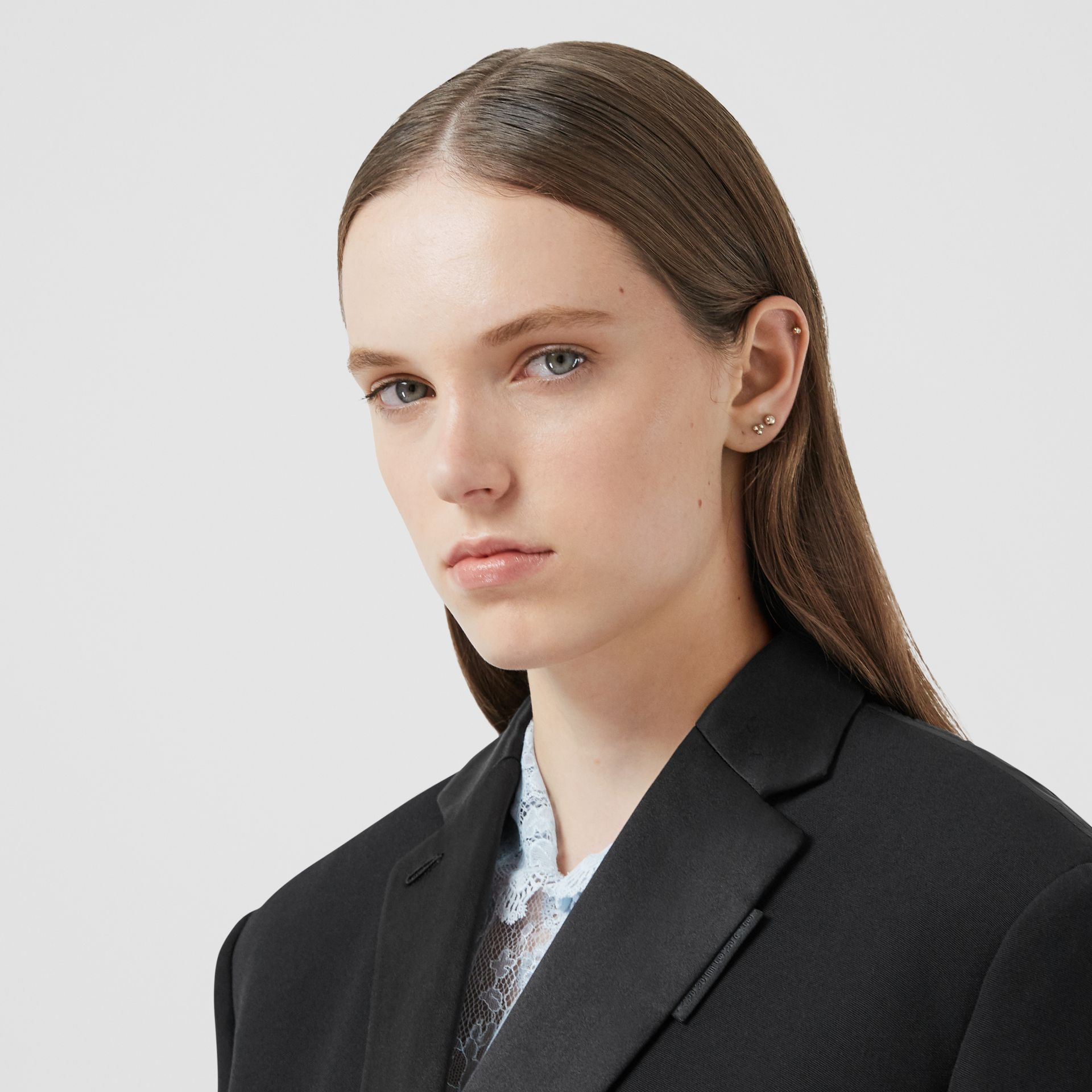 Cut-out Back Wool and Taffeta Tuxedo Jacket in Black - Women | Burberry - gallery image 1