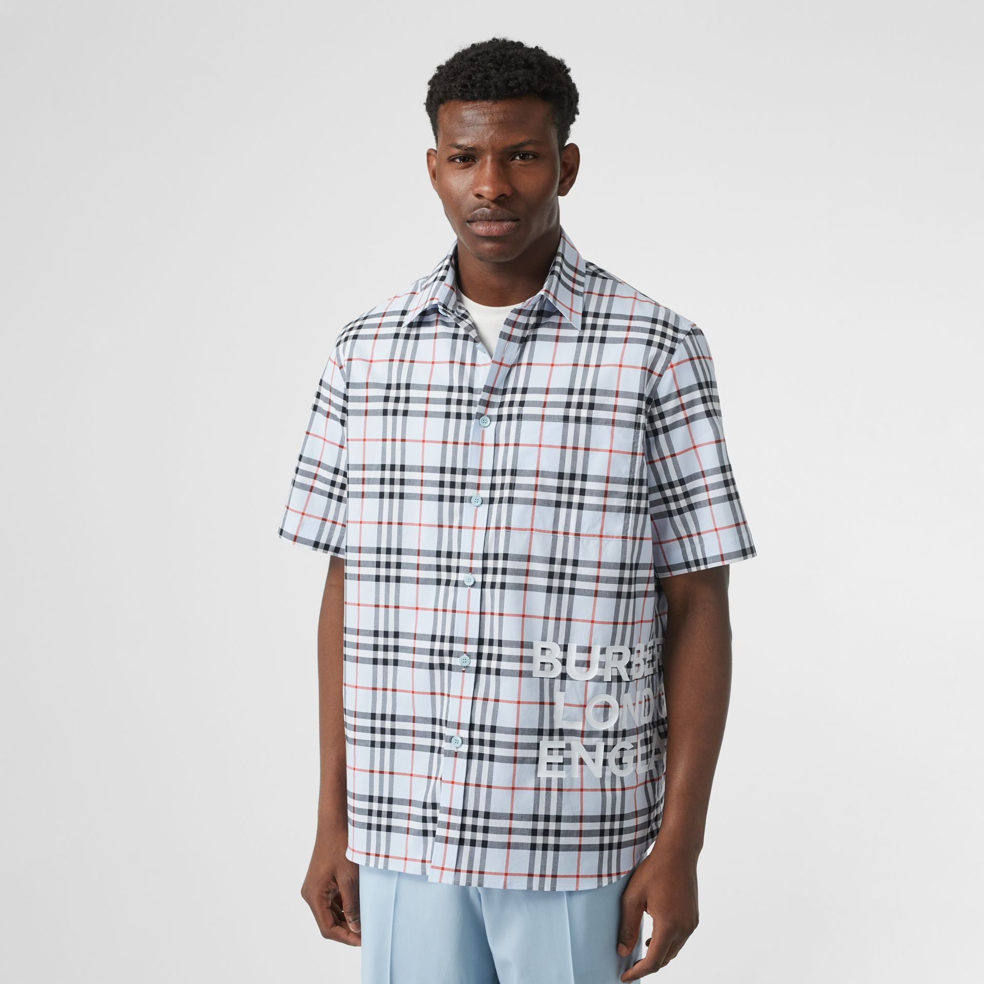 Short-sleeve Vintage Check Cotton Oversized Shirt in Pale Blue - Men | Burberry Hong Kong S.A.R - gallery image 4
