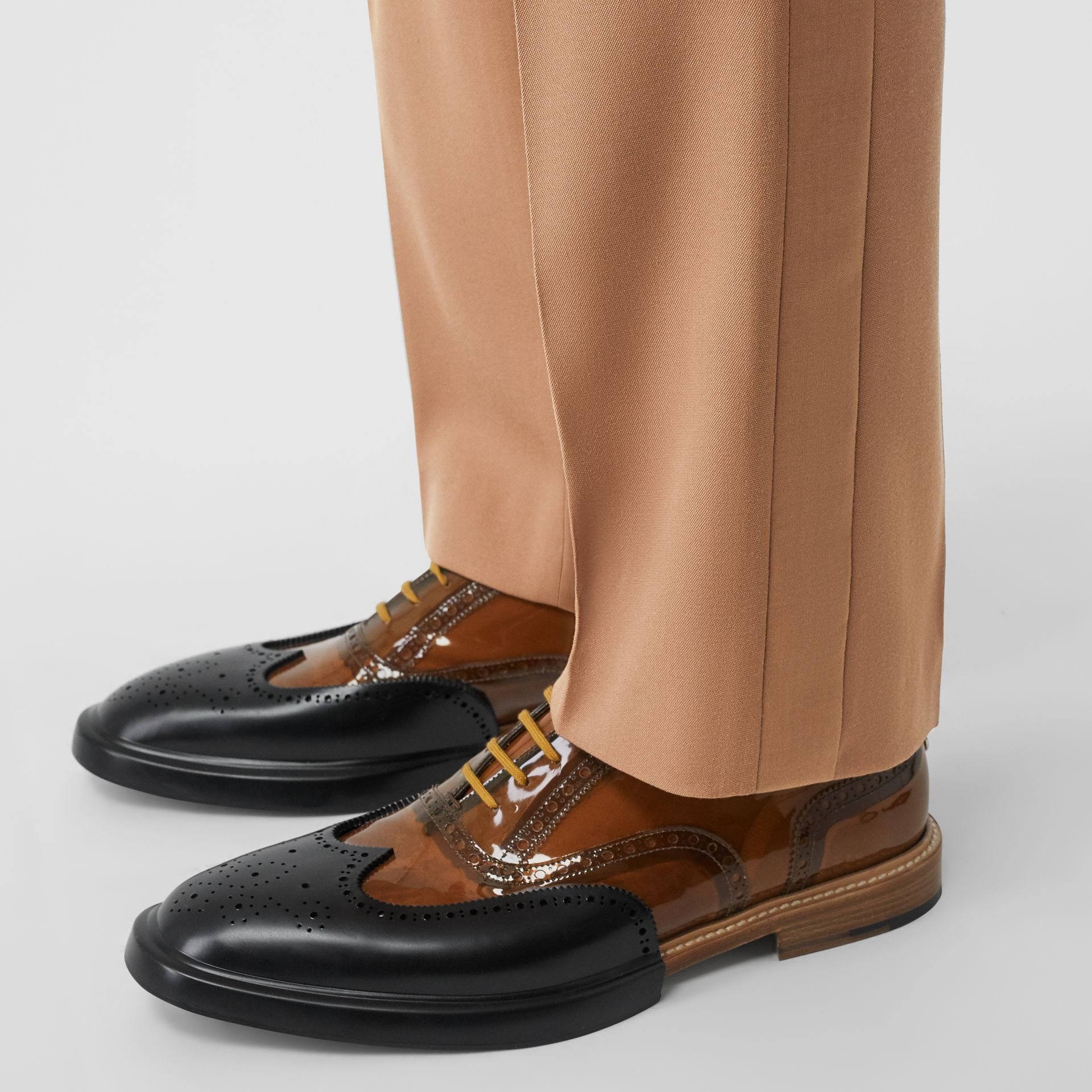 Stripe Detail Wool Tailored Trousers in Warm Camel - Men | Burberry - gallery image 1