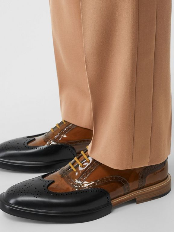 Stripe Detail Wool Tailored Trousers in Warm Camel - Men | Burberry - cell image 1