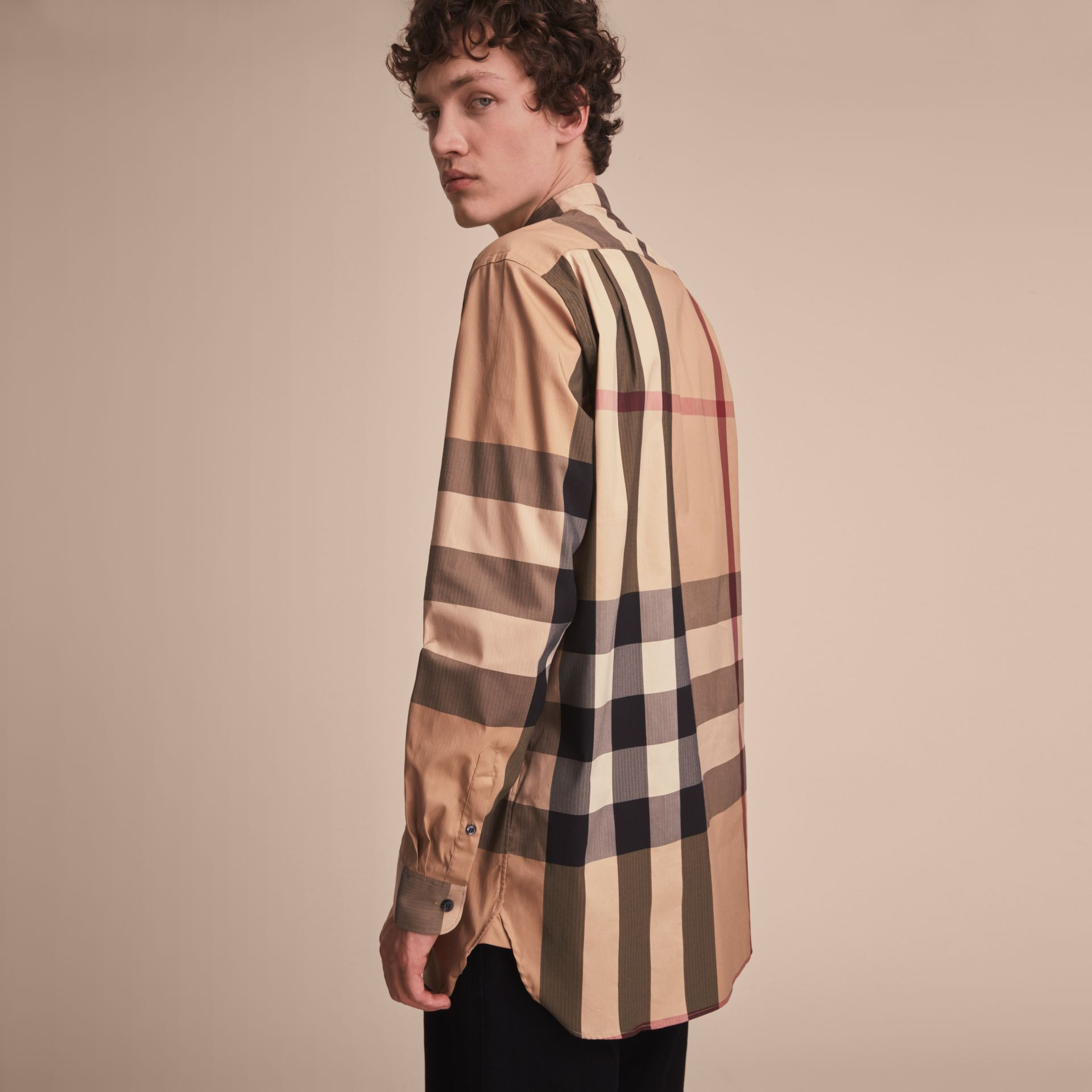 Grandad Collar Check Cotton Blend Shirt in Camel - Men | Burberry - gallery image 3